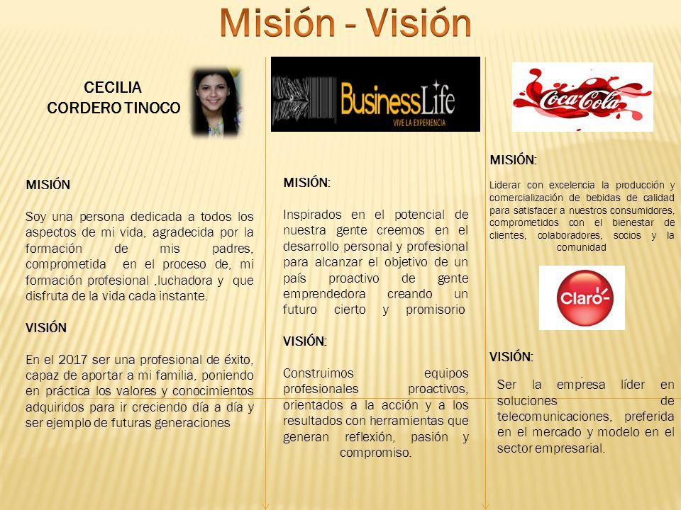 Misión - Visión CECILIA CORDERO TINOCO MISIÓN: VISIÓN: . MISIÓN