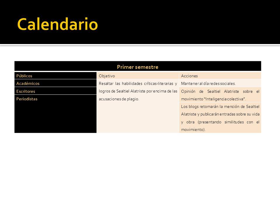 Calendario Primer semestre Públicos Objetivo Acciones Académicos