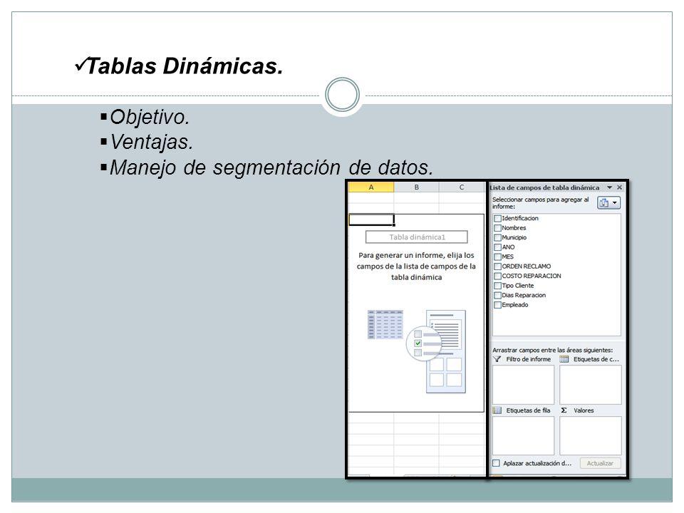 Tablas Dinámicas. Objetivo. Ventajas. Manejo de segmentación de datos.