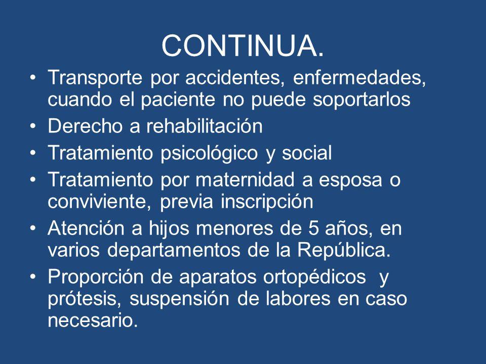 CONTINUA.Transporte por accidentes, enfermedades, cuando el paciente no puede soportarlos. Derecho a rehabilitación.