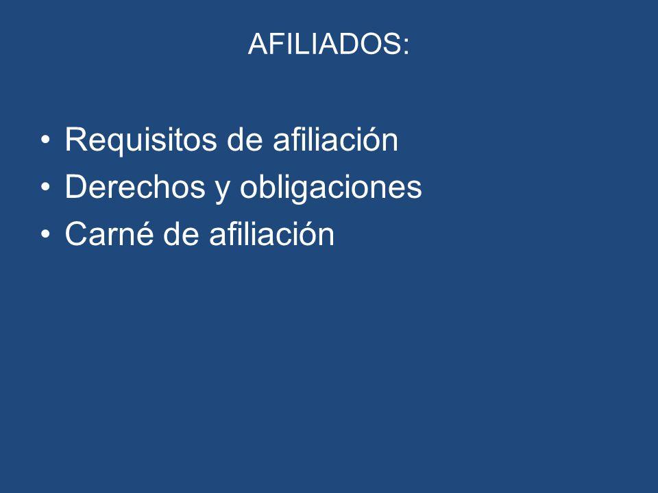 Requisitos de afiliación Derechos y obligaciones Carné de afiliación