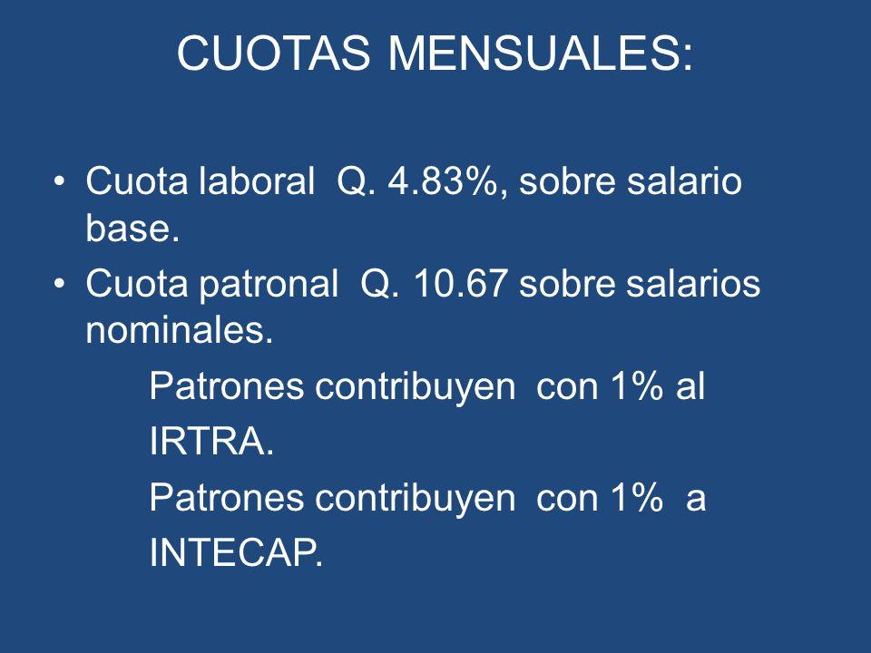 CUOTAS MENSUALES: Cuota laboral Q. 4.83%, sobre salario base.