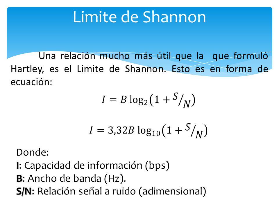Limite de Shannon Una relación mucho más útil que la que formuló Hartley, es el Limite de Shannon. Esto es en forma de ecuación: