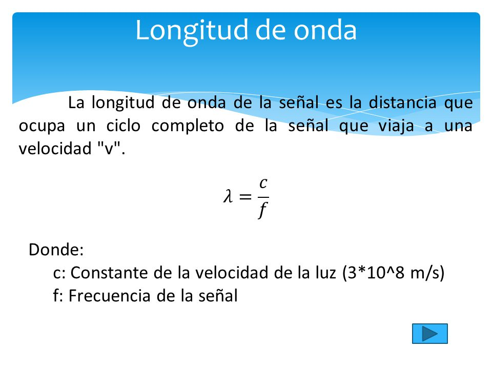Longitud de onda La longitud de onda de la señal es la distancia que ocupa un ciclo completo de la señal que viaja a una velocidad v .