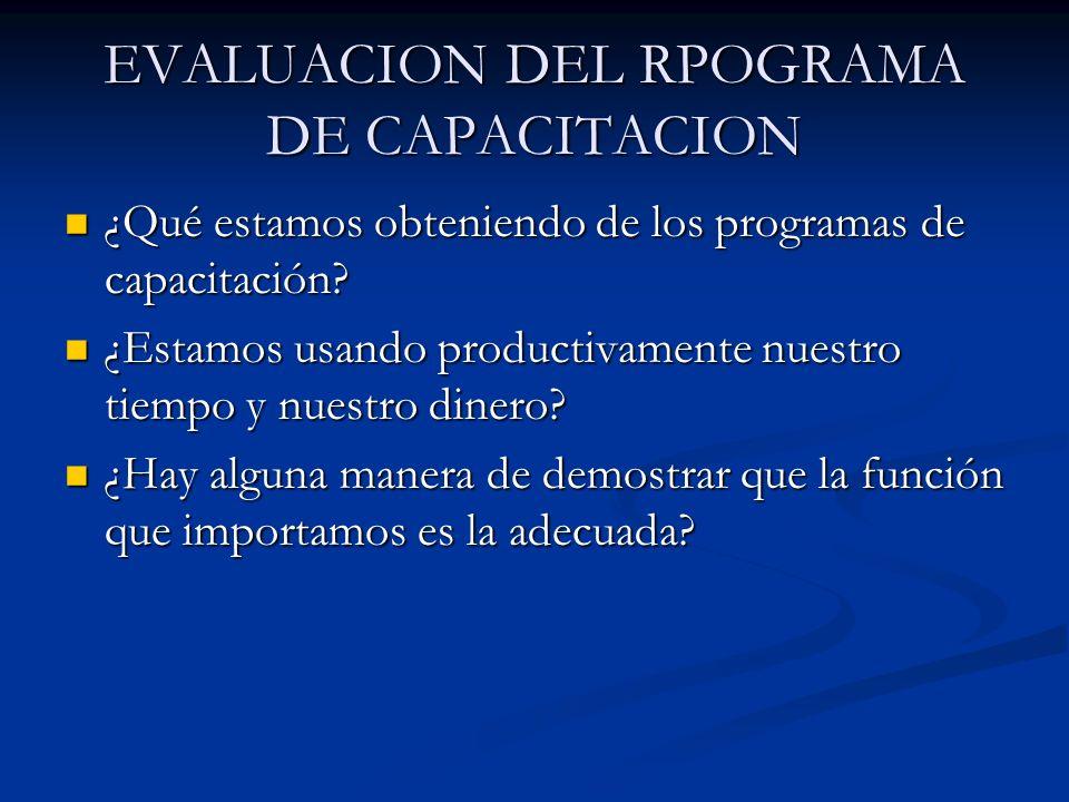 EVALUACION DEL RPOGRAMA DE CAPACITACION