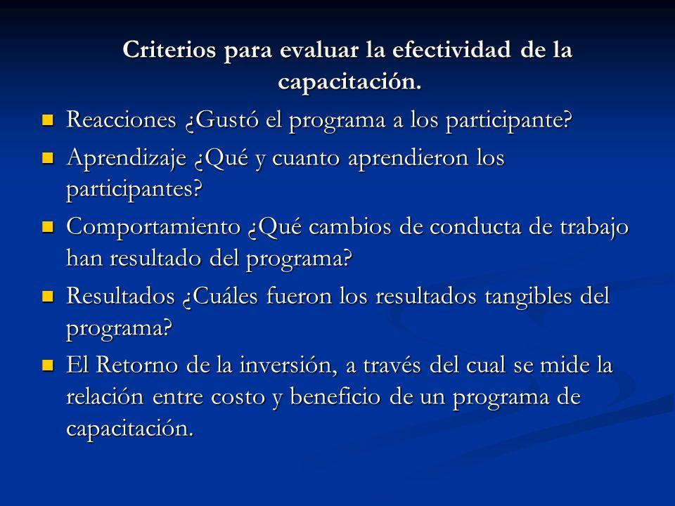 Criterios para evaluar la efectividad de la capacitación.