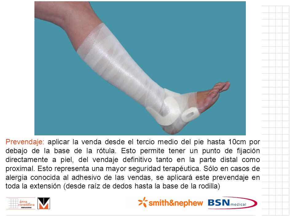 Prevendaje: aplicar la venda desde el tercio medio del pie hasta 10cm por debajo de la base de la rótula.