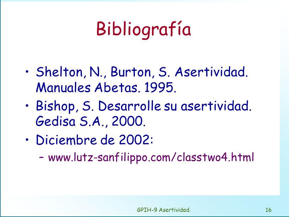 BibliografíaShelton, N., Burton, S. Asertividad. Manuales Abetas. 1995. Bishop, S. Desarrolle su asertividad. Gedisa S.A., 2000.