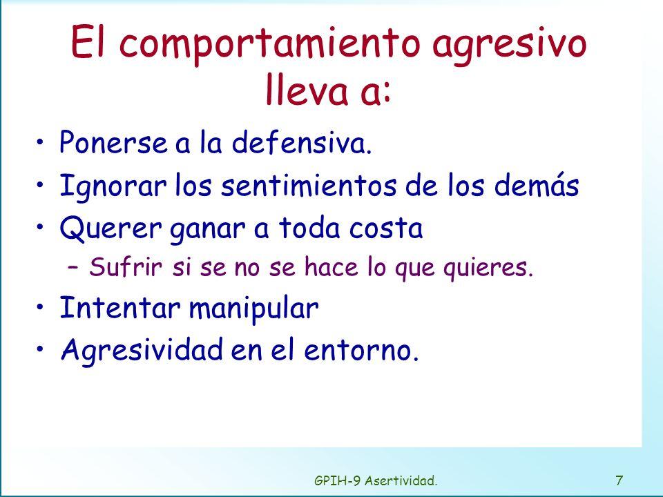 El comportamiento agresivo lleva a: