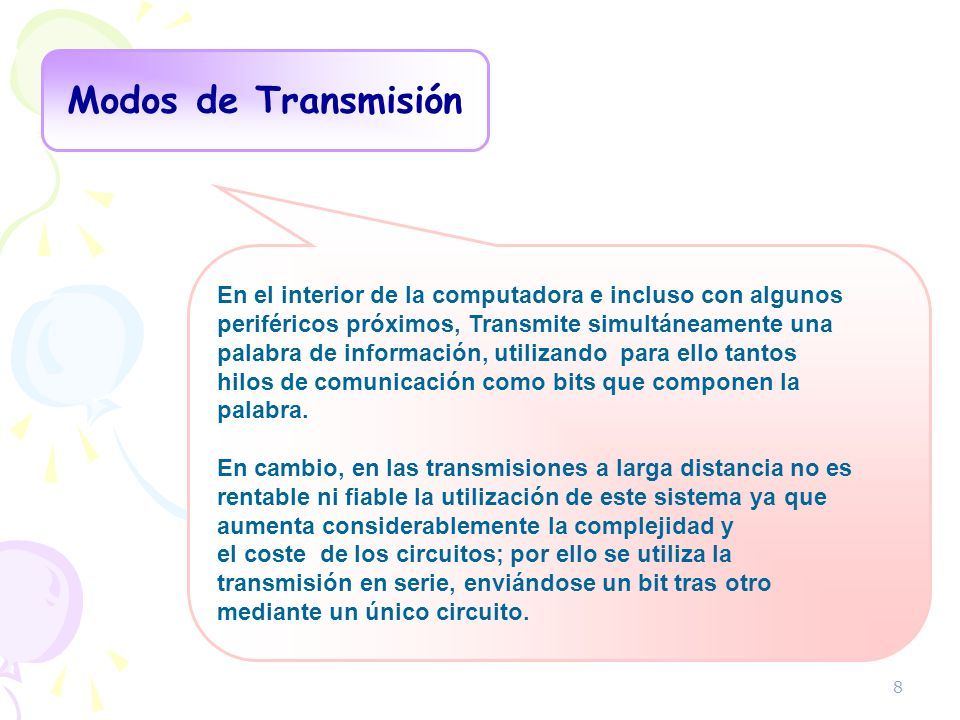 Modos de TransmisiónEn el interior de la computadora e incluso con algunos. periféricos próximos, Transmite simultáneamente una.