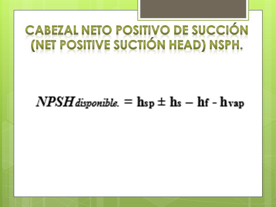 Cabezal neto positivo de succión (net positive suctión head) nsph.