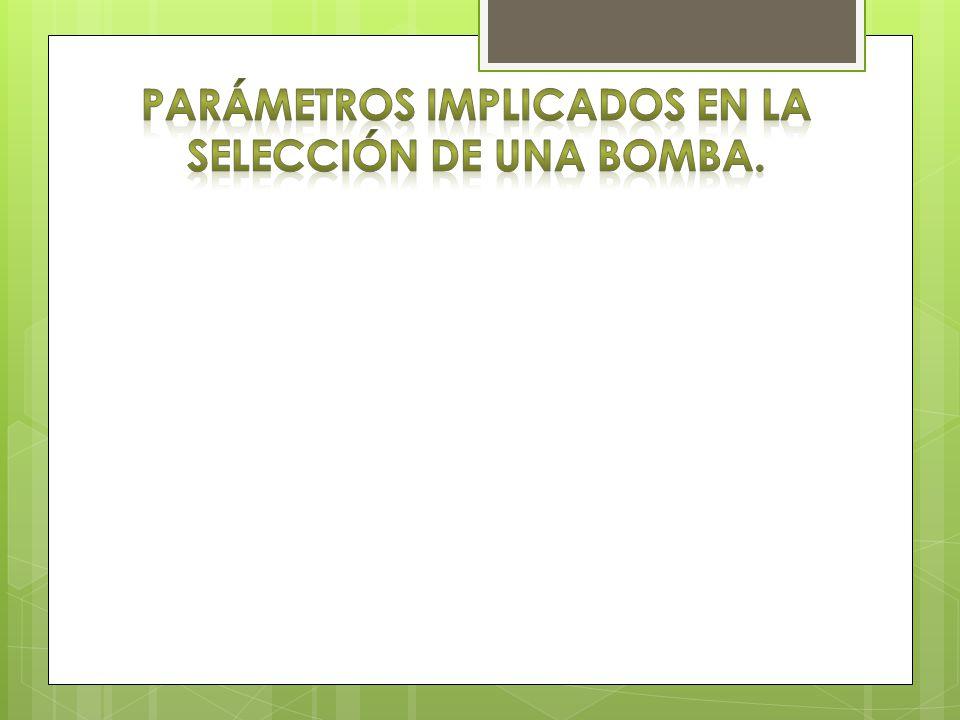 Parámetros implicados en la selección de una bomba.