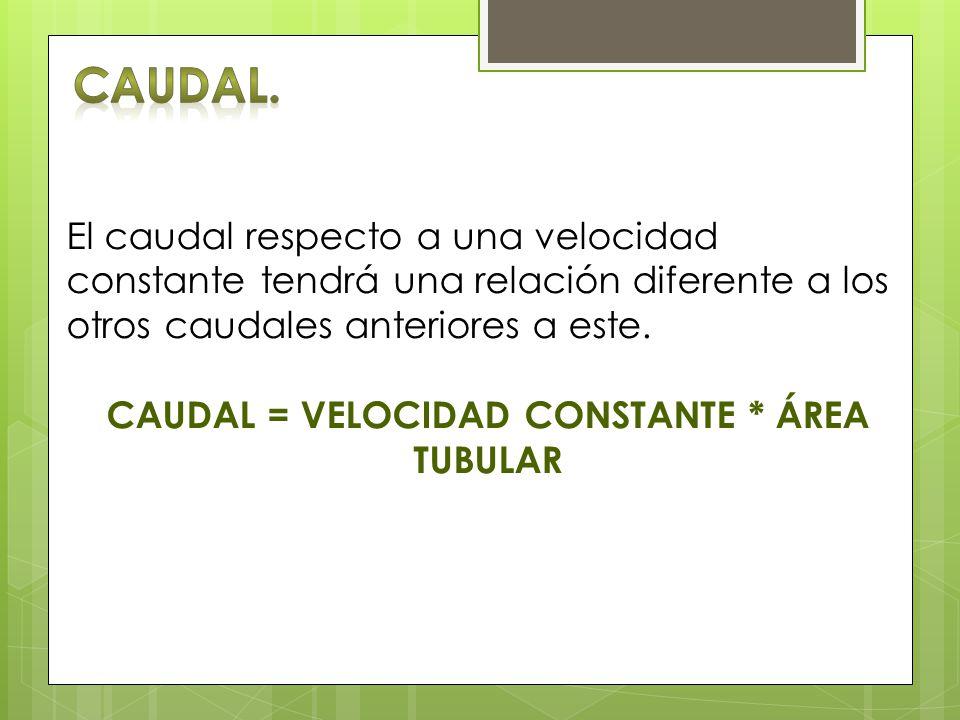 CAUDAL = VELOCIDAD CONSTANTE * ÁREA TUBULAR