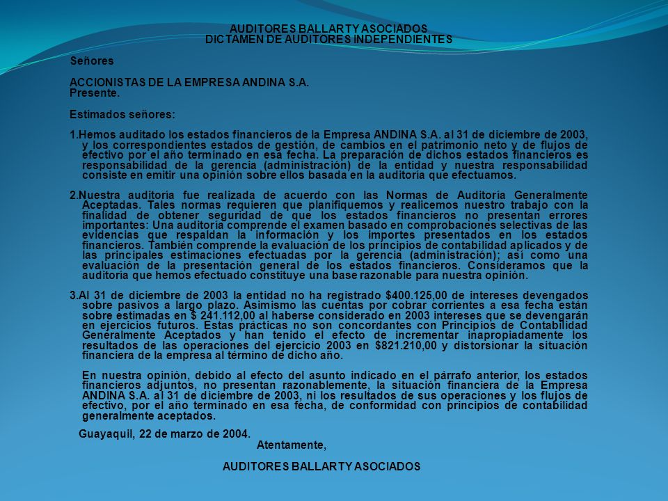 AUDITORES BALLARTY ASOCIADOS DICTAMEN DE AUDITORES INDEPENDIENTES