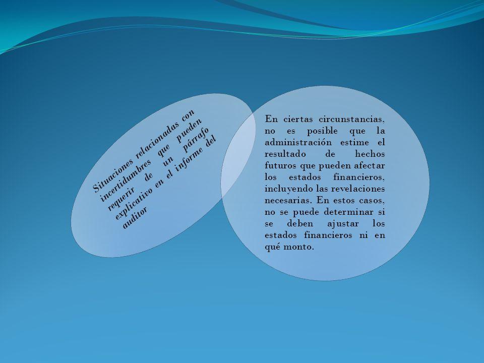Situaciones relacionadas con incertidumbres que pueden requerir de un párrafo explicativo en el informe del auditor