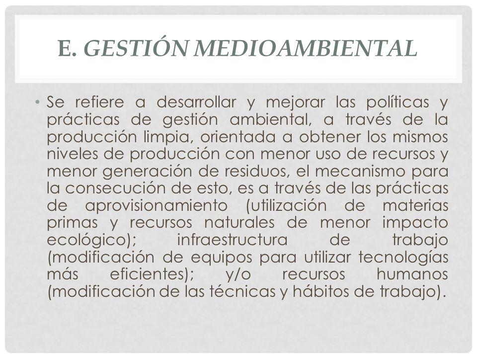 e. Gestión Medioambiental