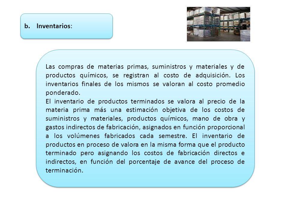 b. lnventarios: