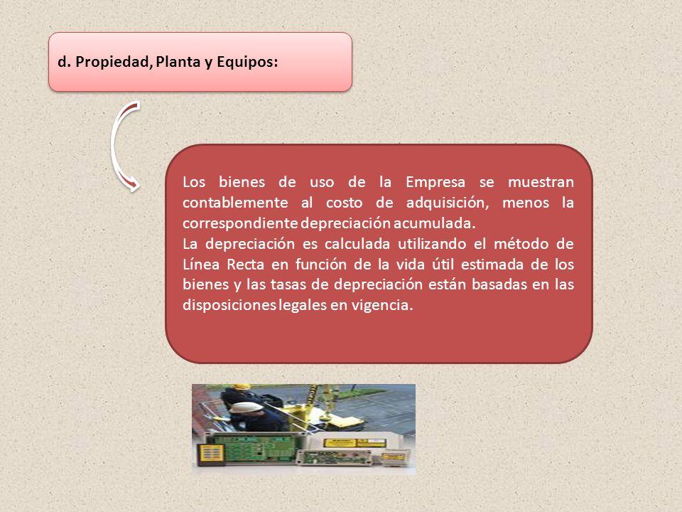 d. Propiedad, Planta y Equipos: