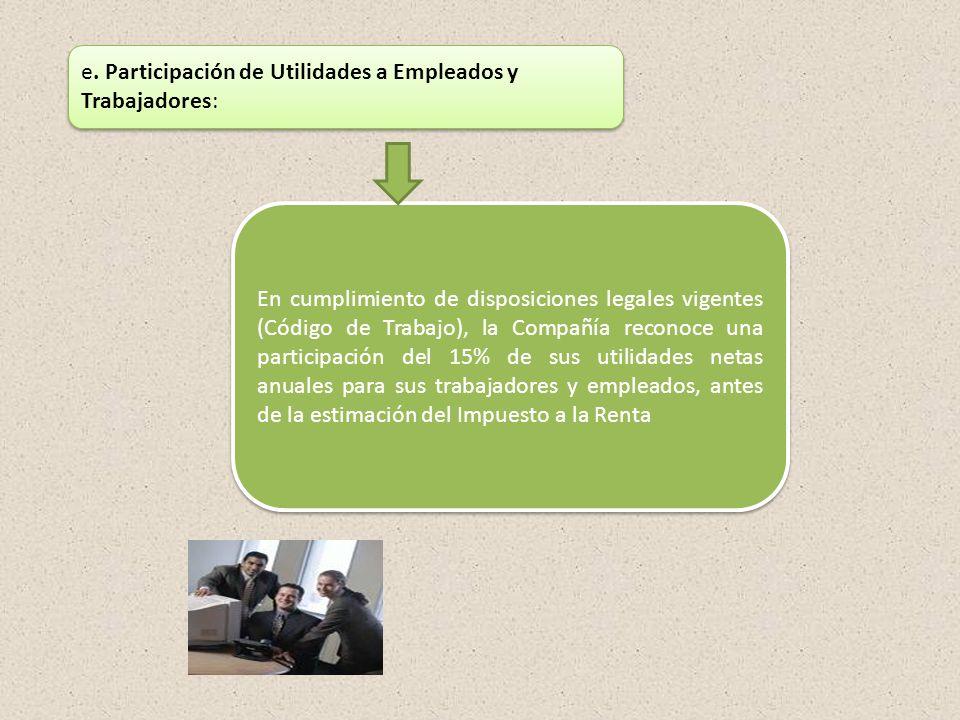 e. Participación de Utilidades a Empleados y Trabajadores: