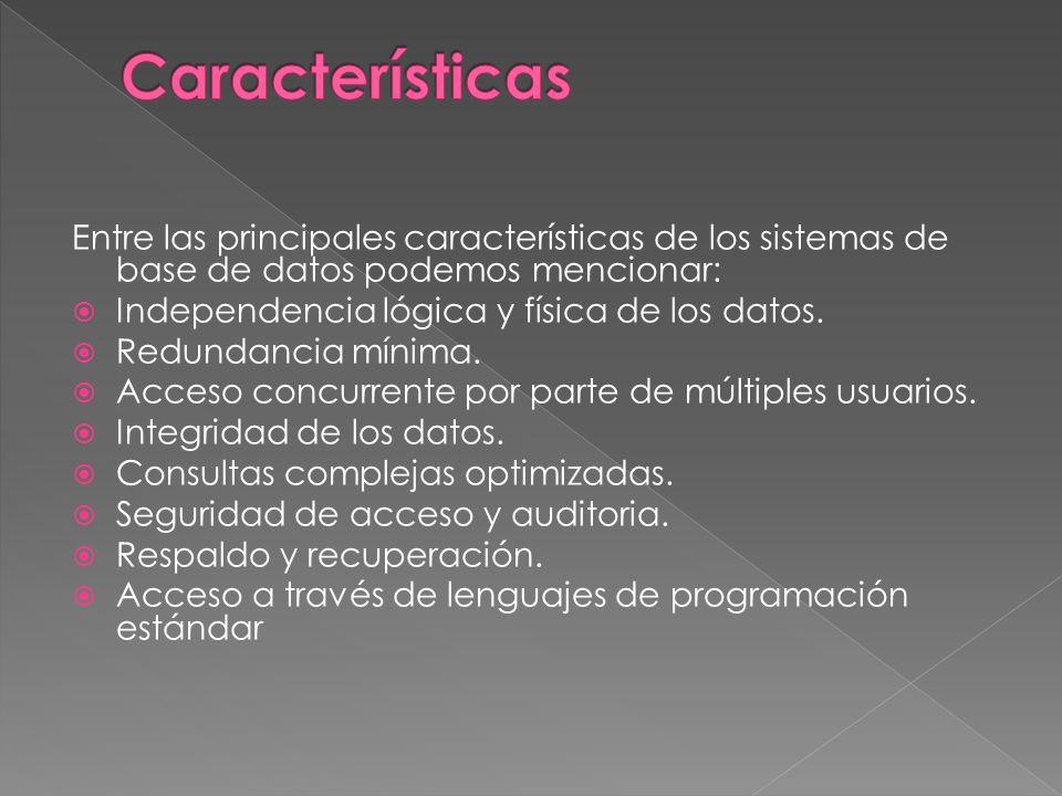 Características Entre las principales características de los sistemas de base de datos podemos mencionar: