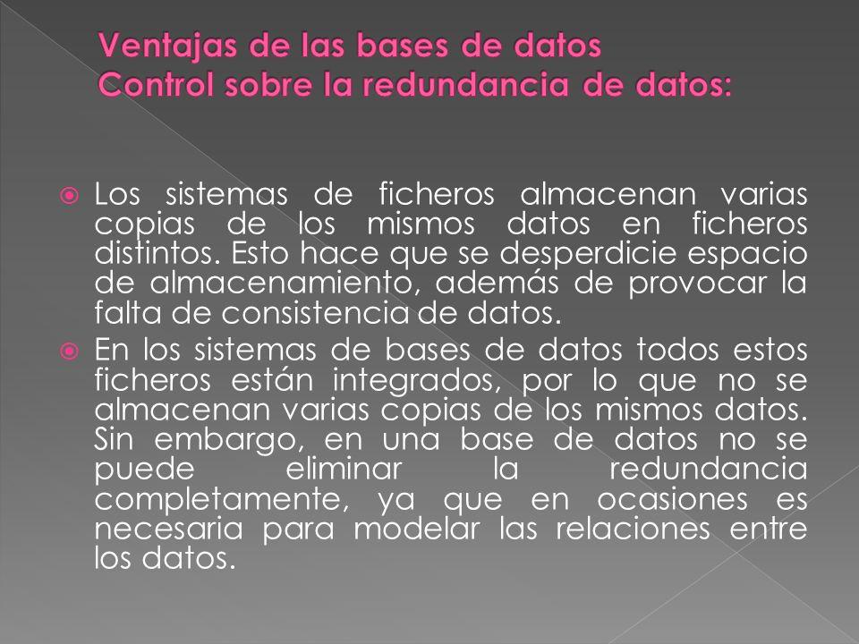 Ventajas de las bases de datos Control sobre la redundancia de datos: