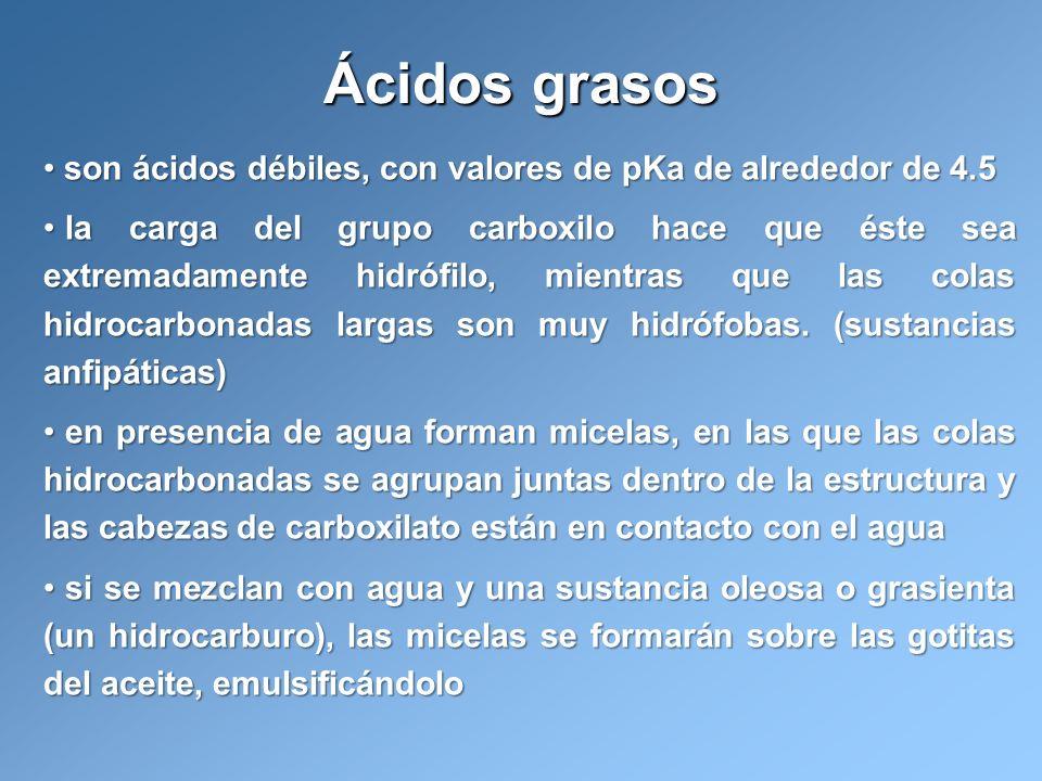 Ácidos grasos son ácidos débiles, con valores de pKa de alrededor de 4.5.