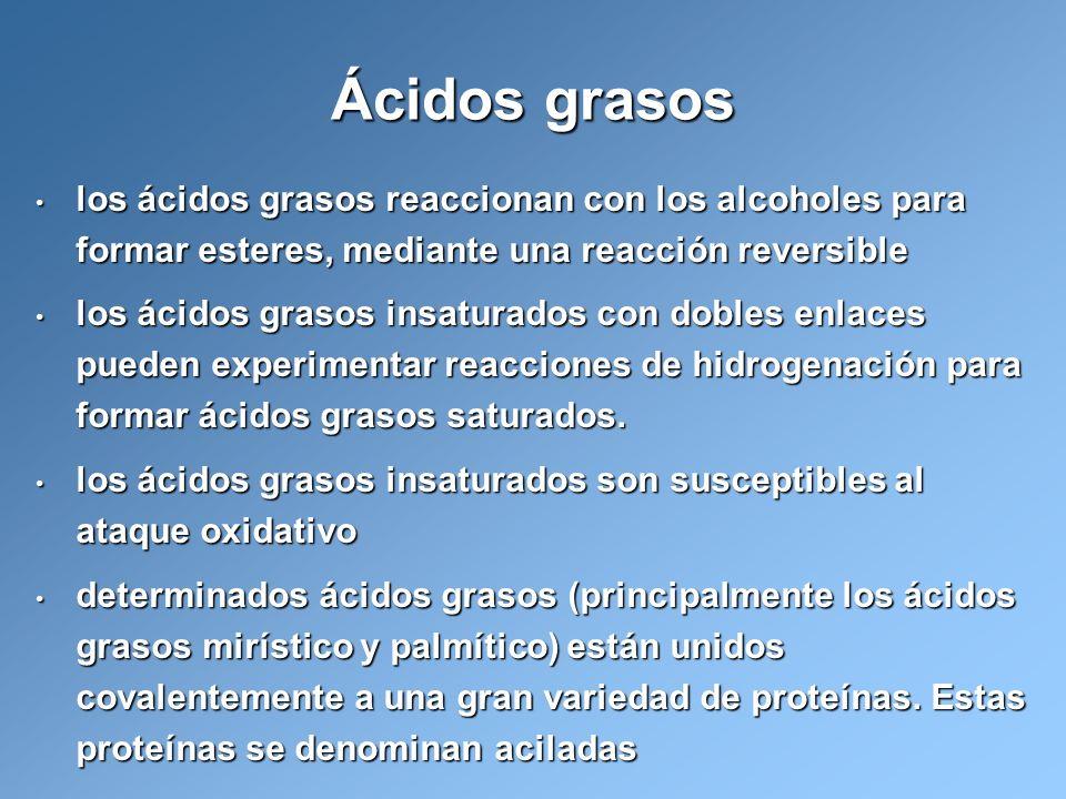 Ácidos grasos los ácidos grasos reaccionan con los alcoholes para formar esteres, mediante una reacción reversible.