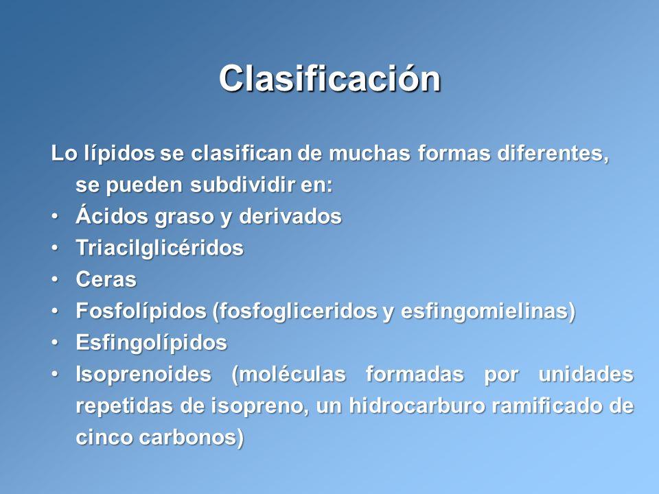 ClasificaciónLo lípidos se clasifican de muchas formas diferentes, se pueden subdividir en: Ácidos graso y derivados.