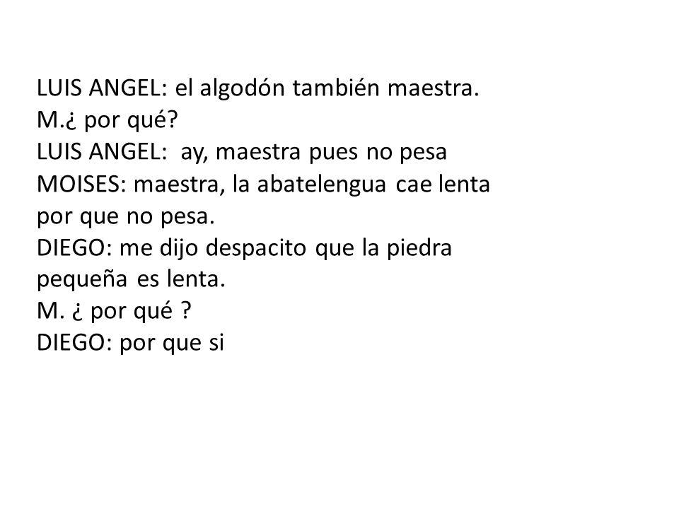 LUIS ANGEL: el algodón también maestra.