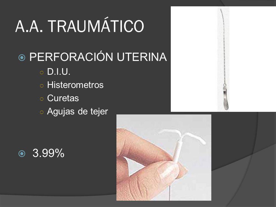 A.A. TRAUMÁTICO PERFORACIÓN UTERINA 3.99% D.I.U. Histerometros Curetas