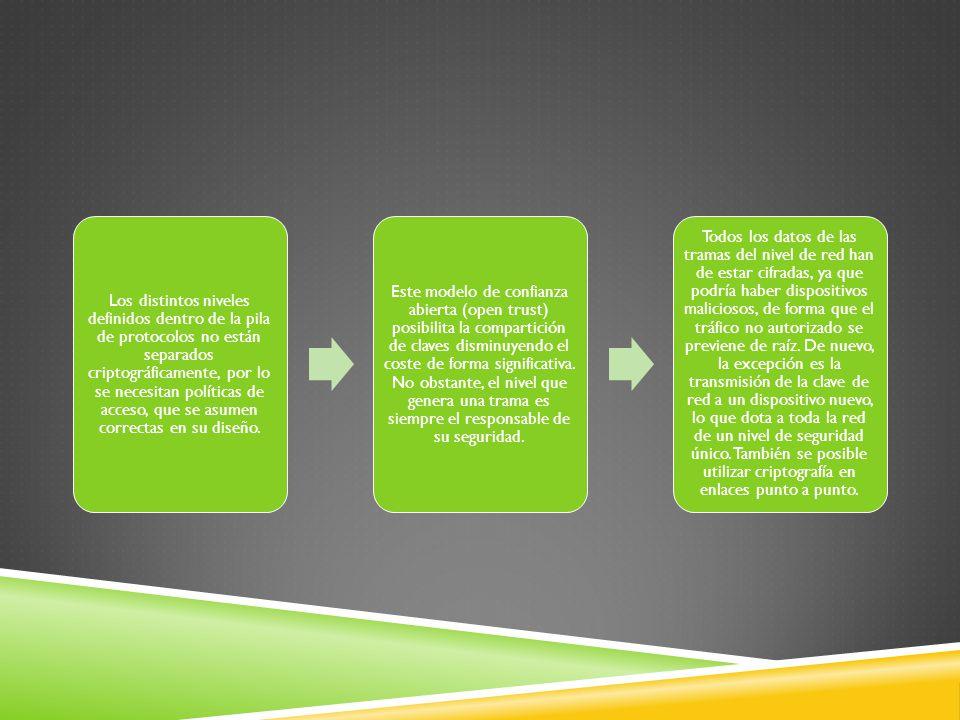 Los distintos niveles definidos dentro de la pila de protocolos no están separados criptográficamente, por lo se necesitan políticas de acceso, que se asumen correctas en su diseño.