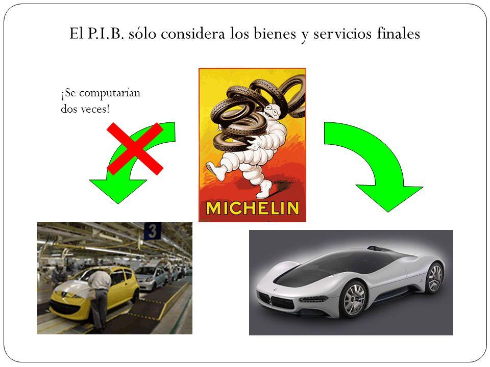 El P.I.B. sólo considera los bienes y servicios finales