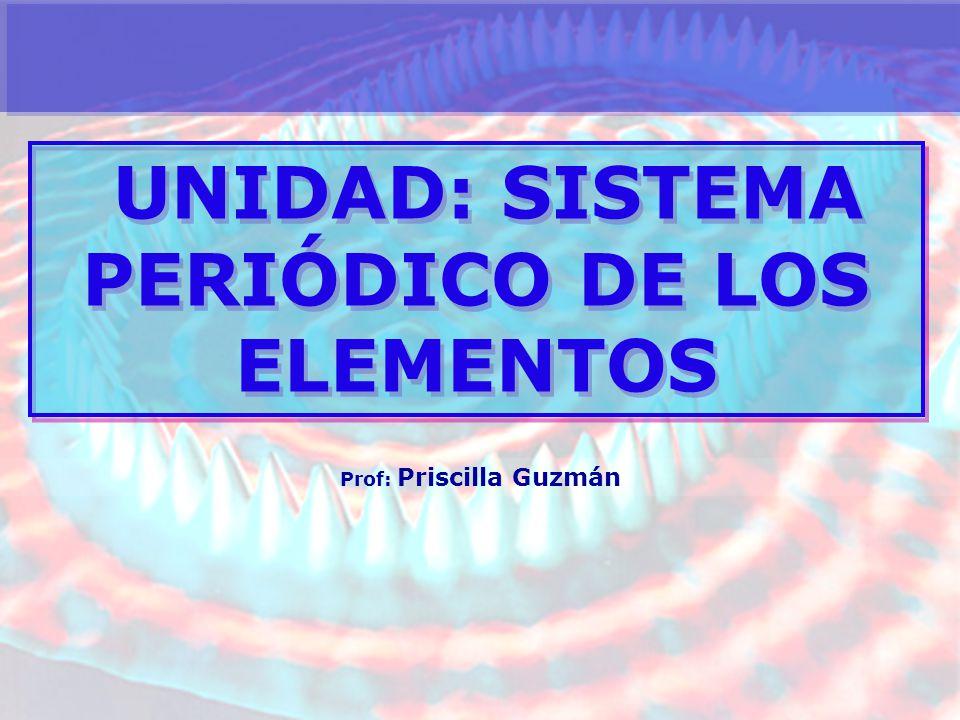 UNIDAD: SISTEMA PERIÓDICO DE LOS ELEMENTOS Prof: Priscilla Guzmán