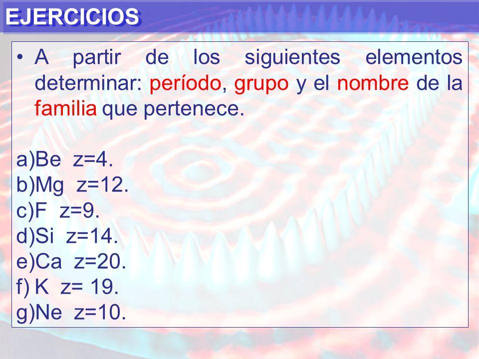 EJERCICIOS A partir de los siguientes elementos determinar: período, grupo y el nombre de la familia que pertenece.