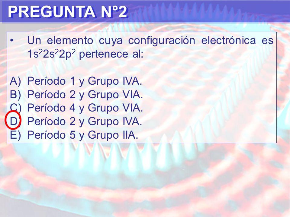 PREGUNTA N°2 Un elemento cuya configuración electrónica es 1s22s22p2 pertenece al: Período 1 y Grupo IVA.