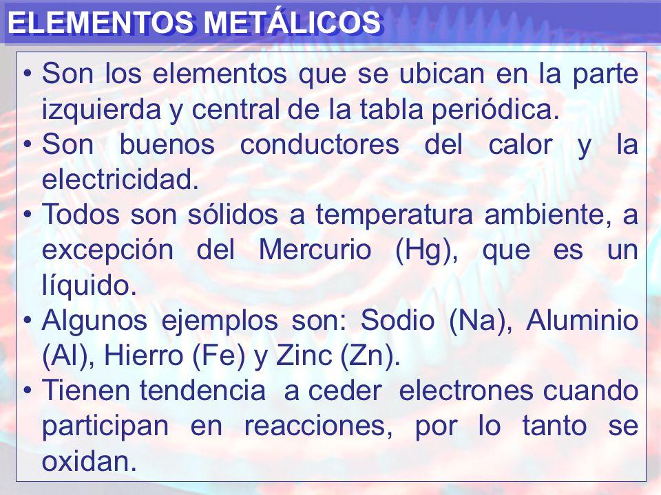 ELEMENTOS METÁLICOS Son los elementos que se ubican en la parte izquierda y central de la tabla periódica.