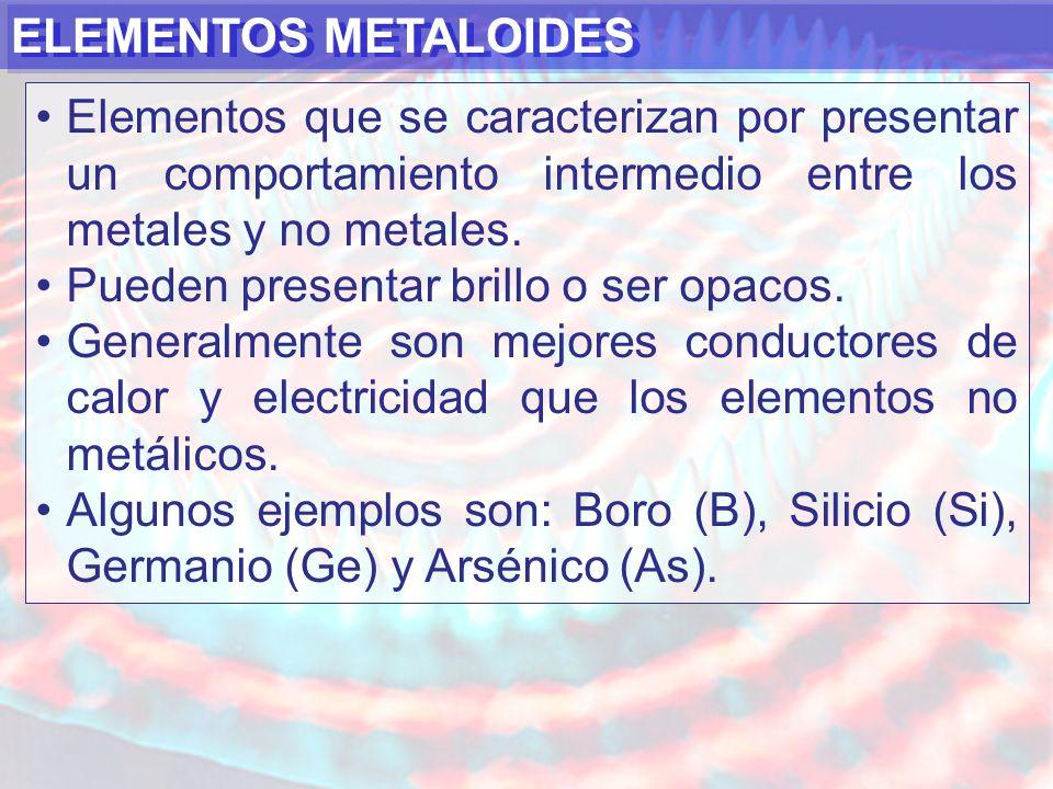ELEMENTOS METALOIDES Elementos que se caracterizan por presentar un comportamiento intermedio entre los metales y no metales.