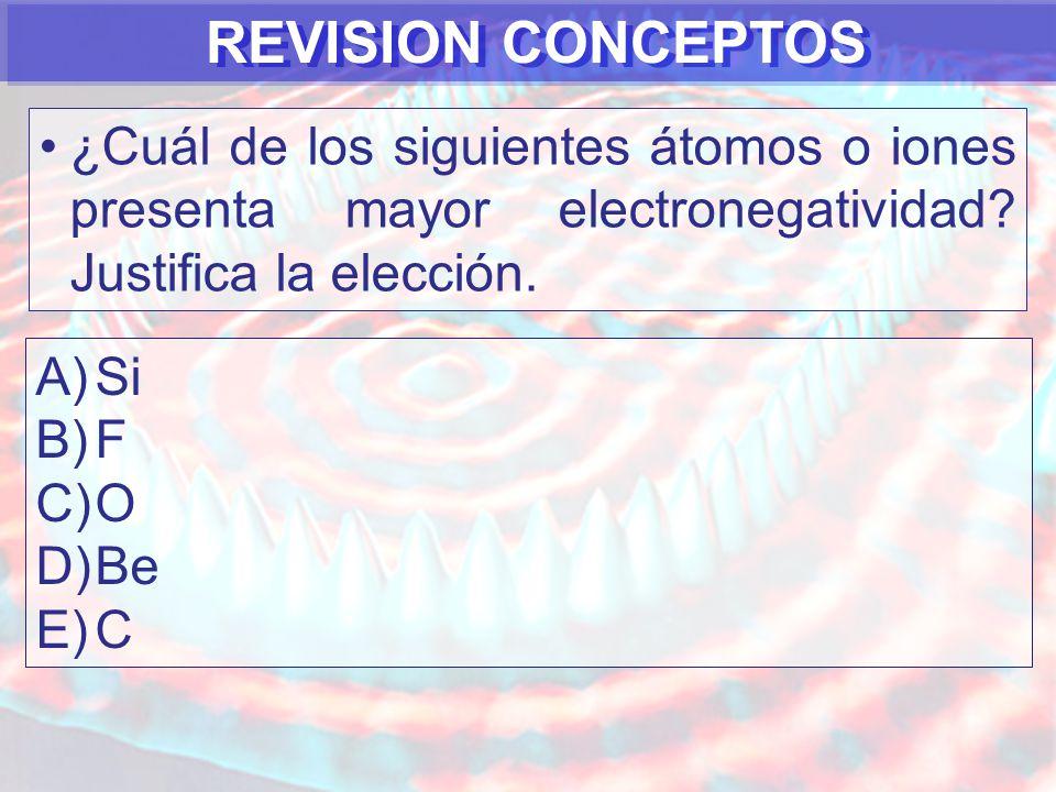 REVISION CONCEPTOS ¿Cuál de los siguientes átomos o iones presenta mayor electronegatividad Justifica la elección.