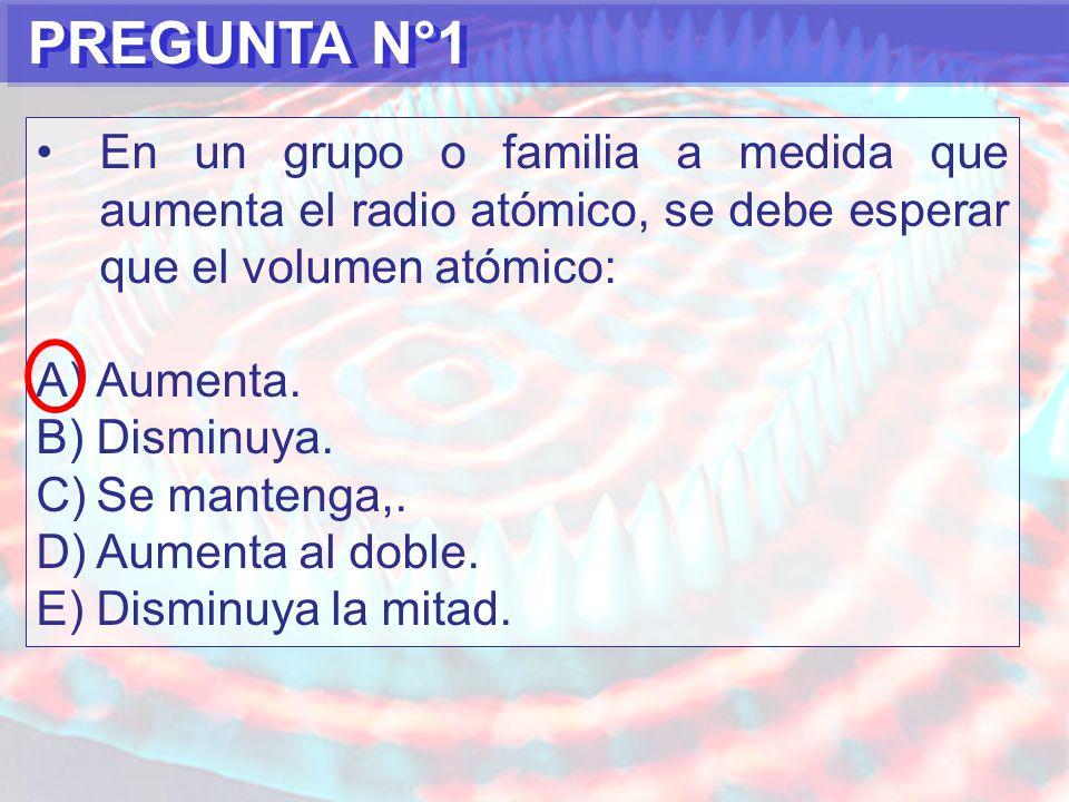 PREGUNTA N°1 En un grupo o familia a medida que aumenta el radio atómico, se debe esperar que el volumen atómico: