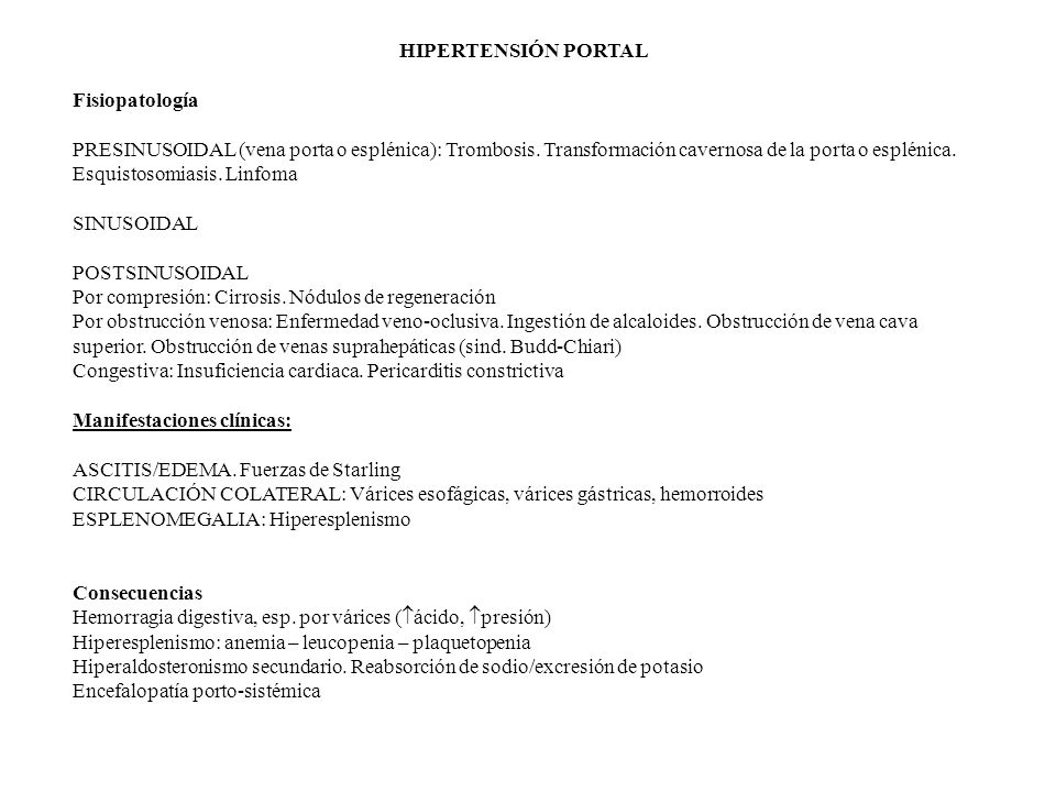 HIPERTENSIÓN PORTAL Fisiopatología.