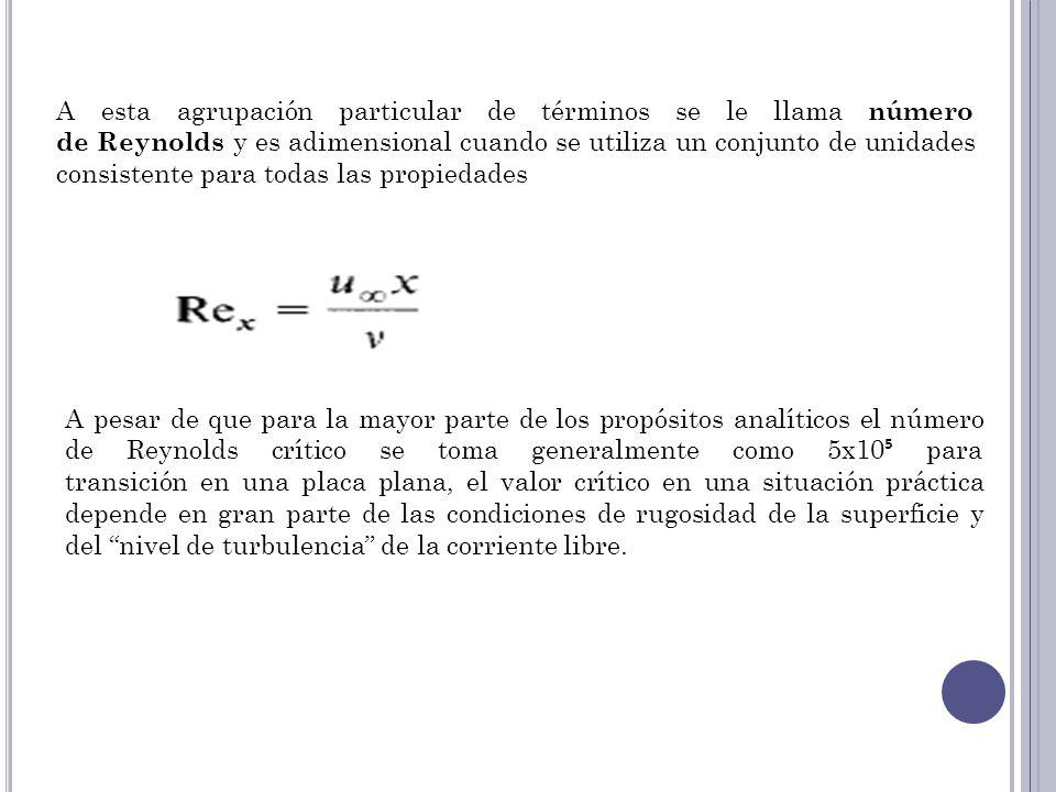 A esta agrupación particular de términos se le llama número de Reynolds y es adimensional cuando se utiliza un conjunto de unidades consistente para todas las propiedades