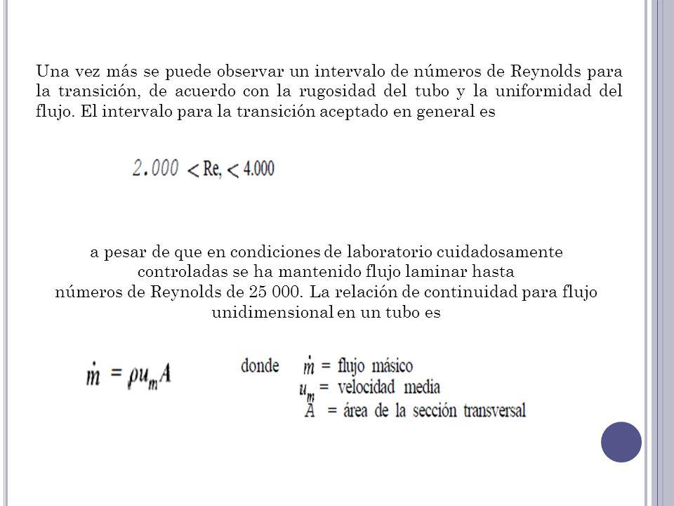 Una vez más se puede observar un intervalo de números de Reynolds para la transición, de acuerdo con la rugosidad del tubo y la uniformidad del flujo. El intervalo para la transición aceptado en general es