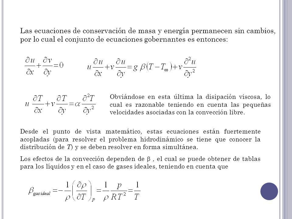 Las ecuaciones de conservación de masa y energía permanecen sin cambios, por lo cual el conjunto de ecuaciones gobernantes es entonces: