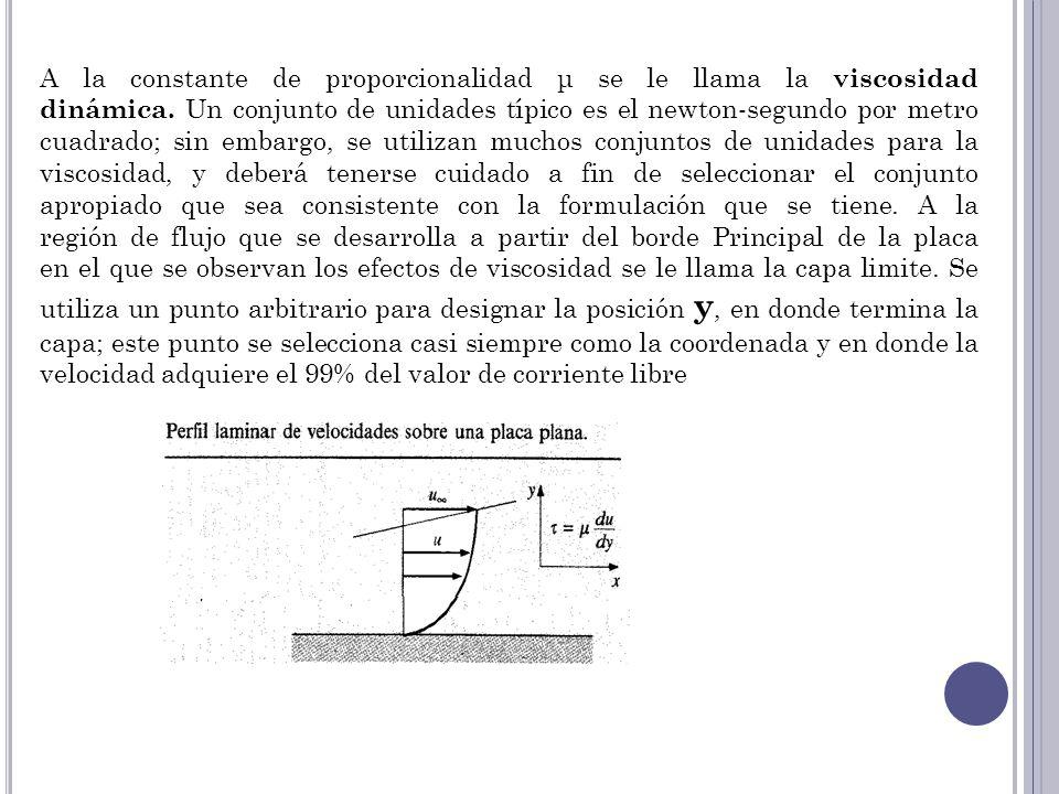 A la constante de proporcionalidad μ se le llama la viscosidad dinámica. Un conjunto de unidades típico es el newton-segundo por metro cuadrado; sin embargo, se utilizan muchos conjuntos de unidades para la viscosidad, y deberá tenerse cuidado a fin de seleccionar el conjunto apropiado que sea consistente con la formulación que se tiene. A la región de flujo que se desarrolla a partir del borde Principal de la placa en el que se observan los efectos de viscosidad se le llama la capa limite. Se utiliza un punto arbitrario para designar la posición y, en donde termina la capa; este punto se selecciona casi siempre como la coordenada y en donde la velocidad adquiere el 99% del valor de corriente libre