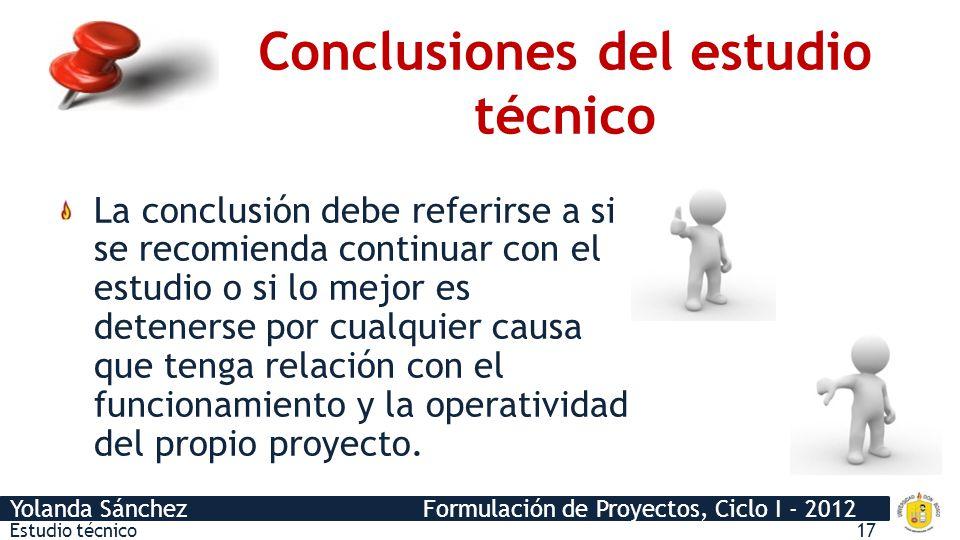 Conclusiones del estudio técnico