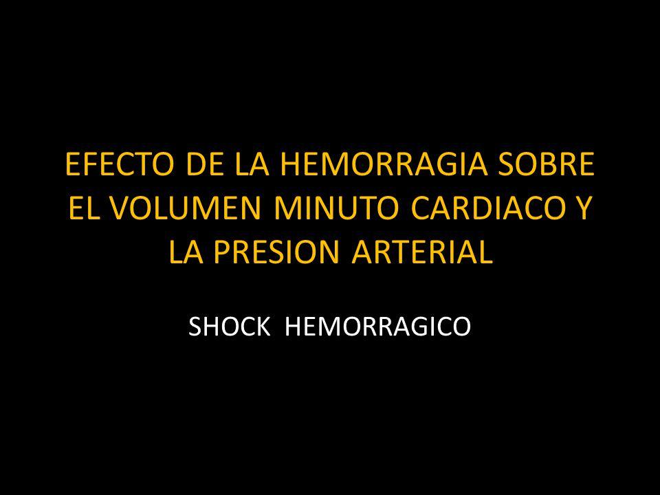 EFECTO DE LA HEMORRAGIA SOBRE EL VOLUMEN MINUTO CARDIACO Y LA PRESION ARTERIAL