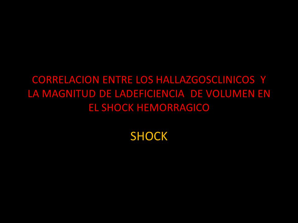 CORRELACION ENTRE LOS HALLAZGOSCLINICOS Y LA MAGNITUD DE LADEFICIENCIA DE VOLUMEN EN EL SHOCK HEMORRAGICO