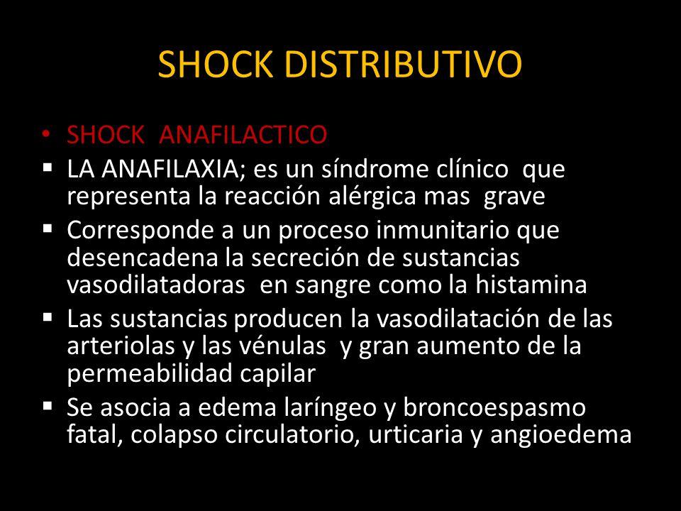 SHOCK DISTRIBUTIVO SHOCK ANAFILACTICO