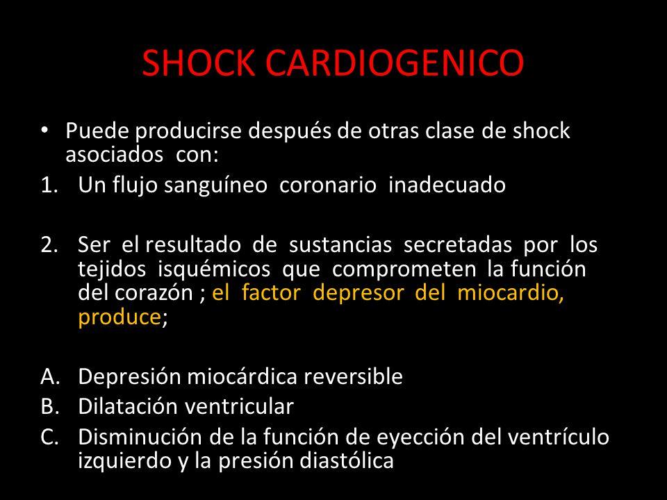 SHOCK CARDIOGENICO Puede producirse después de otras clase de shock asociados con: Un flujo sanguíneo coronario inadecuado.