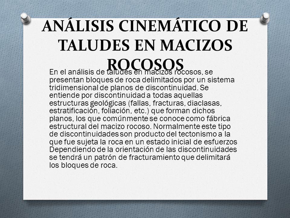 ANÁLISIS CINEMÁTICO DE TALUDES EN MACIZOS ROCOSOS